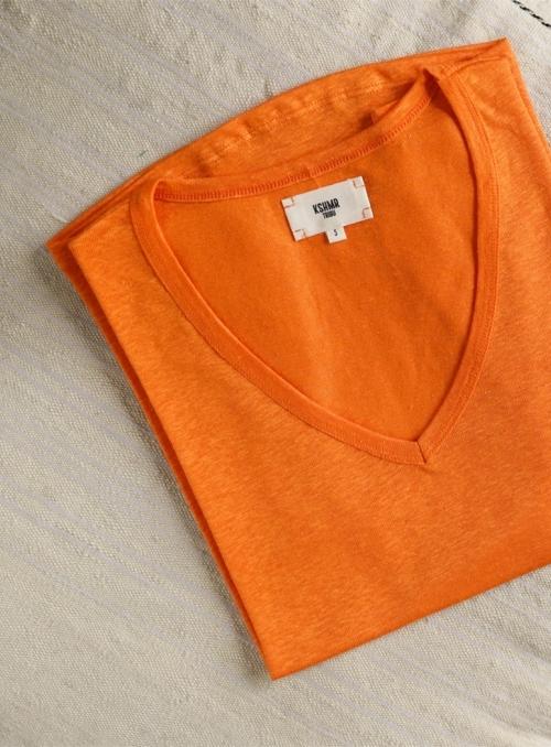 T-shirt Col V Mc 100% Linen