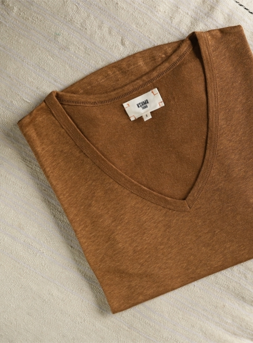 T-shirt Col V Mc 100% Linen