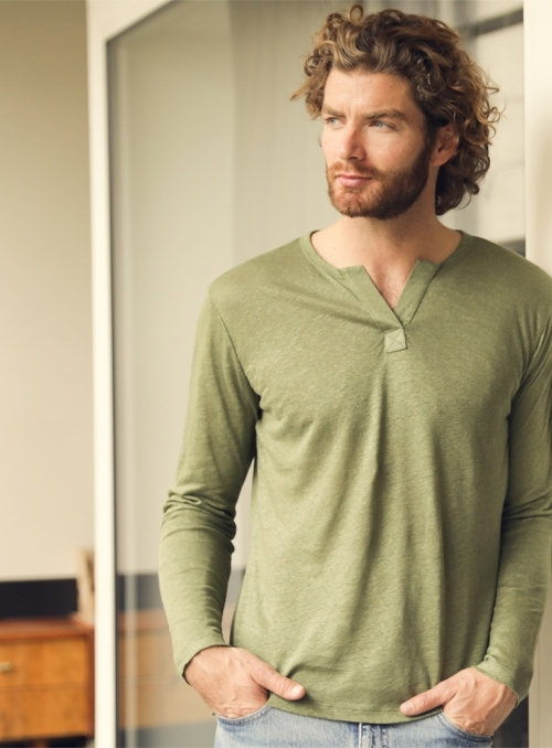 T-shirt Col Tunisien Ml Homme 100% Linen