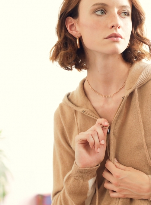 Hoodie Ml Bandes Cotes 100%cashmere Gg12
