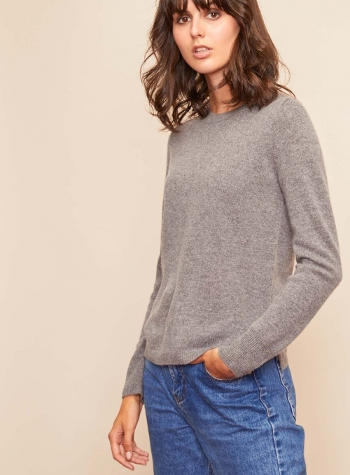 Pull Col Rond Ml Fentes Cotes 100%cashmere Gg12