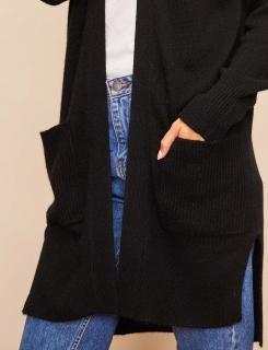 Gilet Long Ouvert Oversize 100%cashmere Gg5