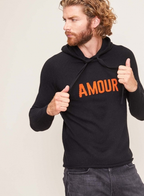 Hoodie Amour Ml 100%cashmere Gg12